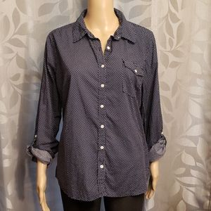 Navy blue polka dot button down shirt